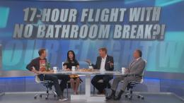 "The Doctors panel in front of screen that reads ""17-Hour Flight with No Bathroom Break?"""