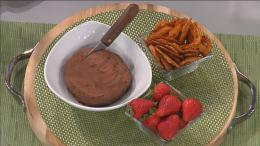 Chocolate hummus with strawberries and pretzel thins