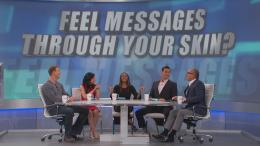 "The Doctors panel in front of screen reading ""Feel Messages Through Your Skin"""