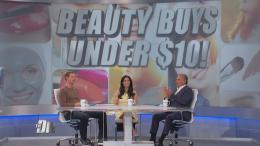 "The Doctors in front of screen that reads ""Beauty Buys Under $10"""