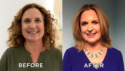 Woman before and after a makeover