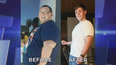 Man before and after losing weight