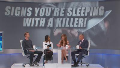 "The Doctors panel in front of screen ""Signs You're Sleeping With A Killer"""