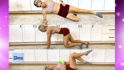 Woman doing three moves.